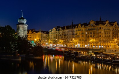 Night panorama of Prague city centre. Long time exposure of night city.