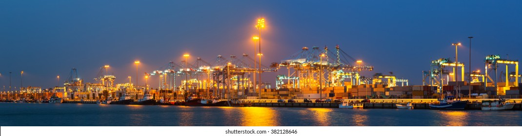 night panorama of  seaport of Algeciras in evening. Spain