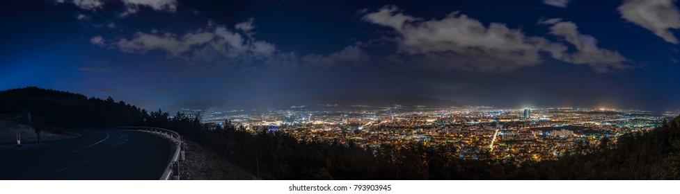 night panorama of Skopje city