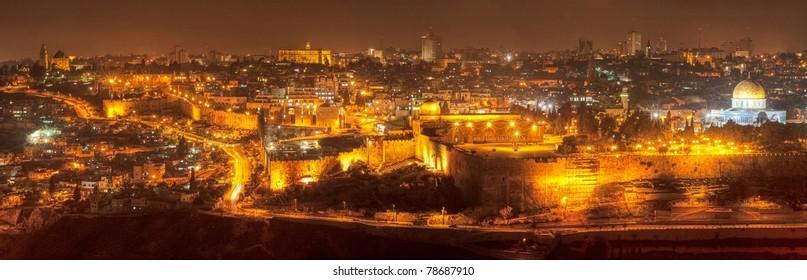 Night panorama skyline of Jerusalem