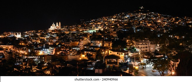 Night panorama of Taxco city in Mexico