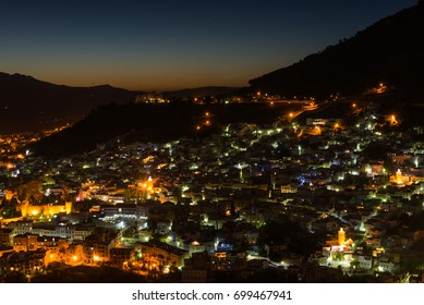 A night panorama view of Chefchaouen shot from the Spanish Mosque, Morocco.
