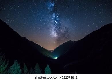Night panoramic astrophotography. Milky Way over Aiguestortes  National Park, Vall de Boi, Lleida, Catalunya, Spain