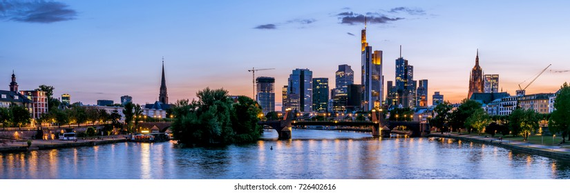 Night panoramic of Frankfurt at Main skyline. Financial center of Germany.