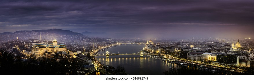 Night panoramic view at Budapest