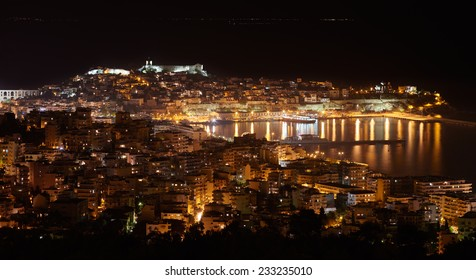 Night panoramic view of the central part of Kavala,a city in northern Greece