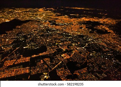 Night panoramic view of Mexico city, Mexico. Central America.