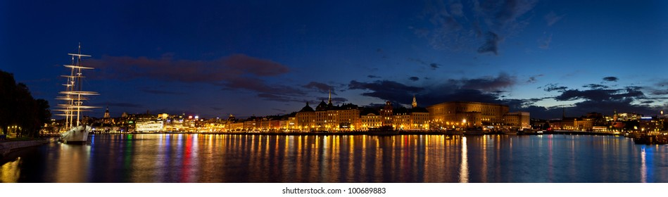 Night panoramic view of Stockholm. Sweden.