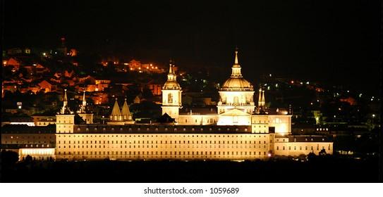 Night panoramic view of the town El escorial, Madrid, spain