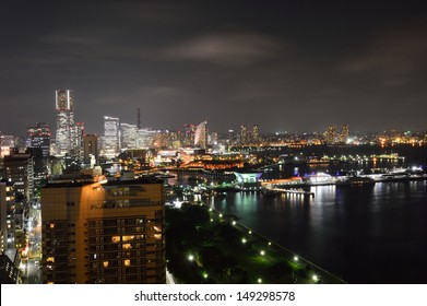 Night panoramic view of Yokohama City, Japan