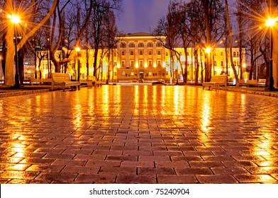 night park in Kiev, Ukraine