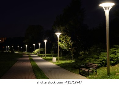 A Night in the Park. Late Wood Benches ,Alley