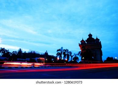 night of patuxay ,landmark of Laos