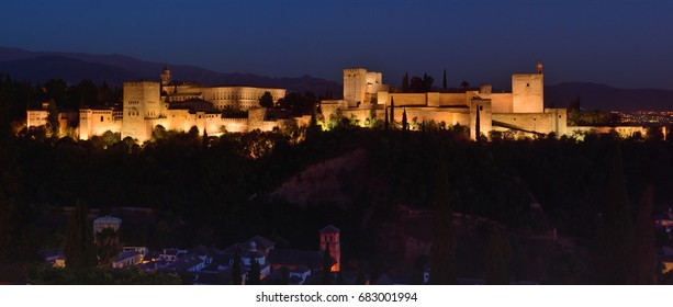 Night photo of the Alhambra Palace, in Granada, Andalusia, Spain. A monument icon, the most visited in Spain