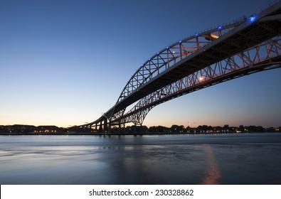 Night Photo Blue Water Bridge Ontario Michigan Sarnia Port Huron