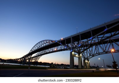 Night Photo Blue Water Bridge Ontario Michigan Sarnia Port Huron