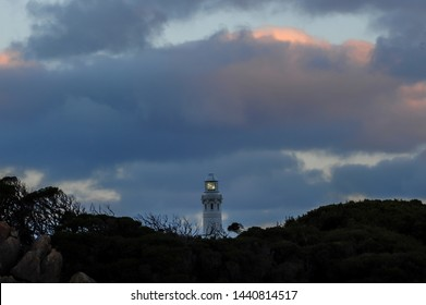 Night photo of the lighthouse at cape Leeuwin, Augusta, Southwest Western Australia. Cape leeuwin lighthouse, last leg of the long hike from the Cape naturaliste lighthouse, Augusta, West Australia.