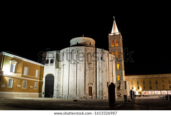 Night photo of medieval church of St.Donatus and bell tower built on roman forum in Zadar, Croatia