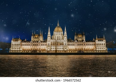 night photo parliament in budapest