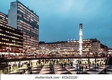 Night photo at Sergel's Square (Sergels Torg) in Stockholm, Sweden
