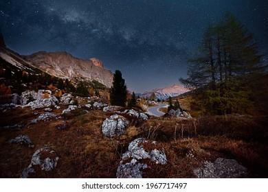 Night photo in south tyrol