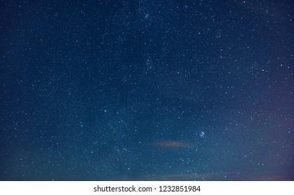 Night photo with stars long exposure