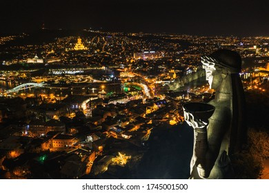 Night photo of Tbilisi in Sololaki hill Georgia Aerial drone view