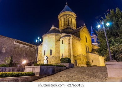 Night photo of Zion Cathedral of Tbilisi, Georgia. The current church is based on a 13th-century version with some changes from the 17th to 19th centuries.