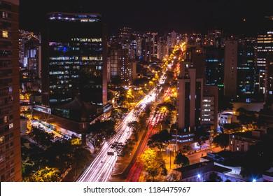 Night photograph of Afonso Pena Avenue southeast view in Belo Horizonte downtown.