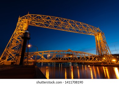 Night photograph of the Duluth Lift Bridge. Originally built in 1905.