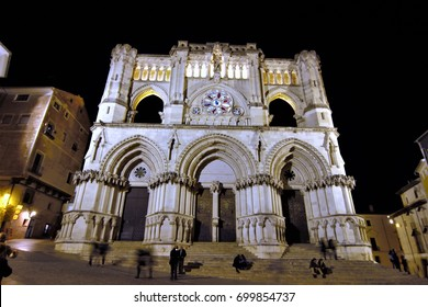 Night photograph of the  of the Gothic cathedral of Cuenca, Spain ,Night photographs of buildings and monuments of the city of Cuenca, spain,