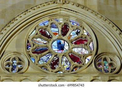 Night photograph of the rosette with stained glass of the Gothic cathedral of Cuenca, Spain ,Night photographs of buildings and monuments of the city of Cuenca, spain,