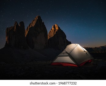 Night Photography of Bivouac in front of the famous Tre Cime - Dolomites - Italy