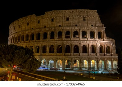 night photography colosseum ancient architecture historical showplace rome