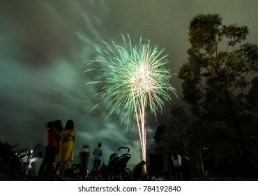 Night photography of Green fireworks for new year 2018 celebration above people at Parramatta park, Sydney, Australia.