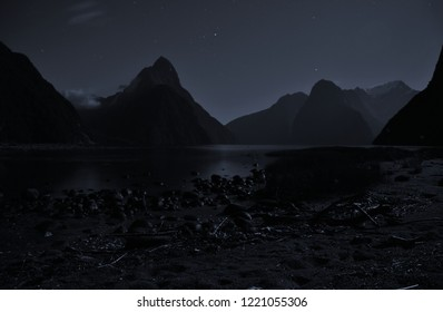 Night Photography, Mitre Peak, Milford Sound, New Zealand