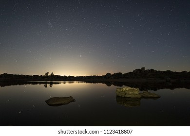 Night photography in the Natural Area of Barruecos. Extremadura. Spain.