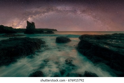 Night Photography of the Sea. View of the Milky Way