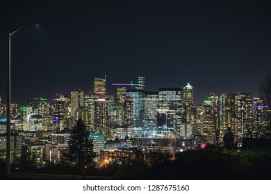 Night Photography Street View of Bright Seattle Skyline Lights