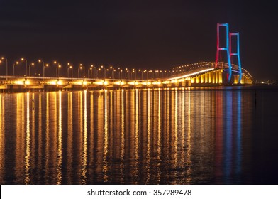 Night photography of Suramadu Bridge located in Surabaya, Indonesia. The bridge connecting the Surabaya town to Madura Island.