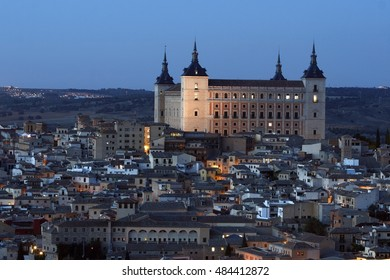 Night photography Alcázar of Toledo, Castilla La Mancha, Spain, unlit, only ambient lights, next to the River Tagus,