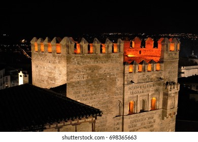 Night photography of the top of the door of the sun in Toledo,