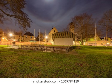 Night photos of Almedalen Park in the Swedish UNESCO city of Visby on the island of Gotland