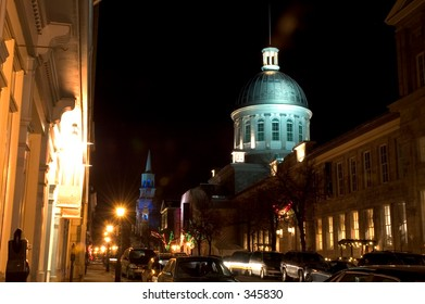 Night picture of Bonsecours market and surroundings  in old Montreal, Quebec,Canada