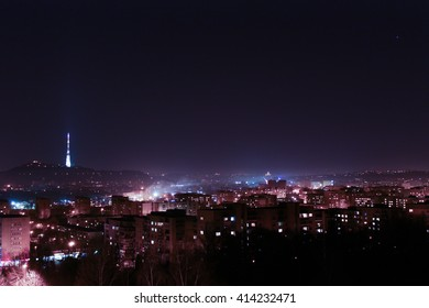 Night picture of Lviv skyline. Ctyscape