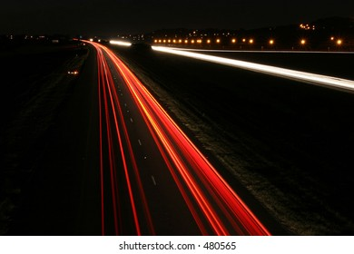 Night pictures of road and lights of cars