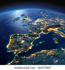 Terrain relief stock images royalty free images vectors night planet earth with precise detailed relief and city lights illuminated by moonlight part of publicscrutiny Gallery