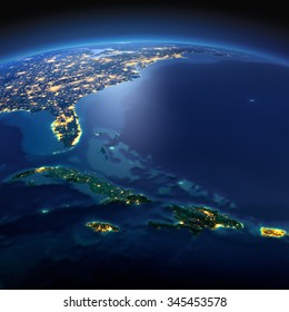 Night planet Earth with precise detailed relief and city lights illuminated by moonlight. South America. Caribbean islands. Cuba, Haiti, Jamaica. Elements of this image furnished by NASA