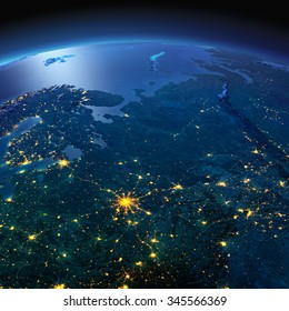 Night planet Earth with precise detailed relief and city lights illuminated by moonlight. European part of Russia. Elements of this image furnished by NASA