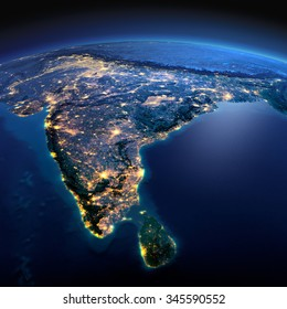 Night planet Earth with precise detailed relief and city lights illuminated by moonlight. India and Sri Lanka. Elements of this image furnished by NASA